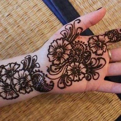 Flower Pattern Mehndi Design For Palm
