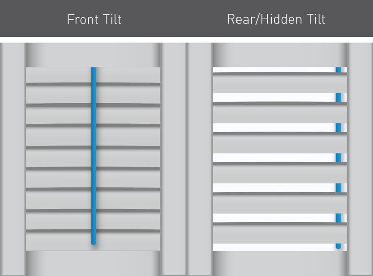 Plantation shutters are available with lots if custom options. One is tilting. Choose a front tilt bar for a traditional look and a hidden tilt for a more unobstructed view.