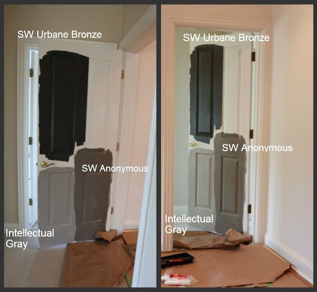 "Sherwin Williams paint, ""Urbane Bronze."""