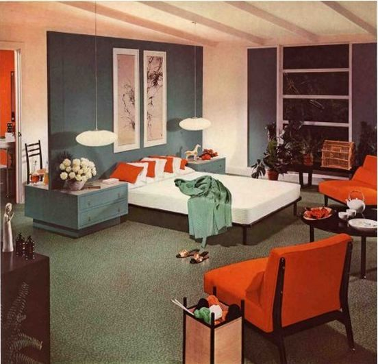 love the scale of the paintings with the low bed and low-hanging pendulum lamps.  I'd also add floor to ceiling drapes as well.  Mid-Century Modern Bedroom 1954 | Armstrong, 1950s, 50s, Retro, Mid Century, Design, Hanging Lamps, Floors, Form, Function, MCM, Nature, Natural, Organic, Shapes, Mod