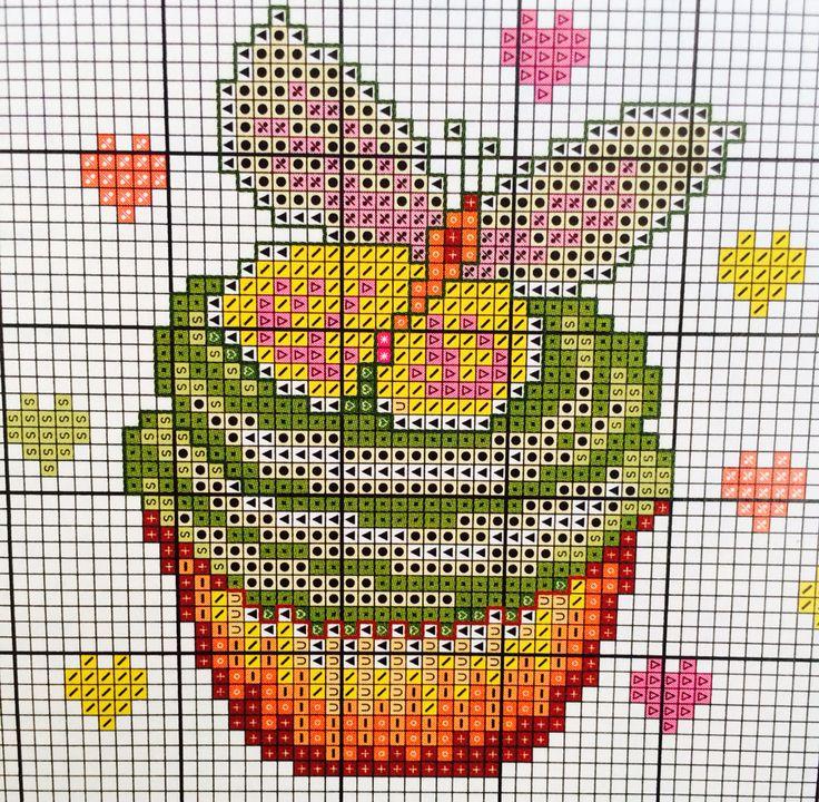 Free Cross stitch pattern, strawberry, cupcake