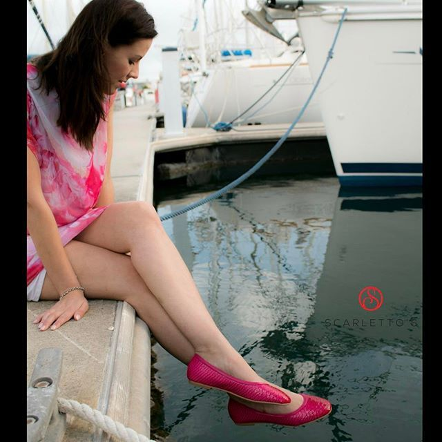 Take a walk on the wild side and add some flare to your wardrobe with these vibrant, fuchsia, fish-scale textured #Flats. Undoubtedly the hottest of hot-pink Flats available this season, the Phoenix oozes feminine attitude and will add punch to any bold coloured outfit. http://scarlettos.com.au/phoenix/ #colourfulflatshoes #balletflats #shoeaddict #beachshoes