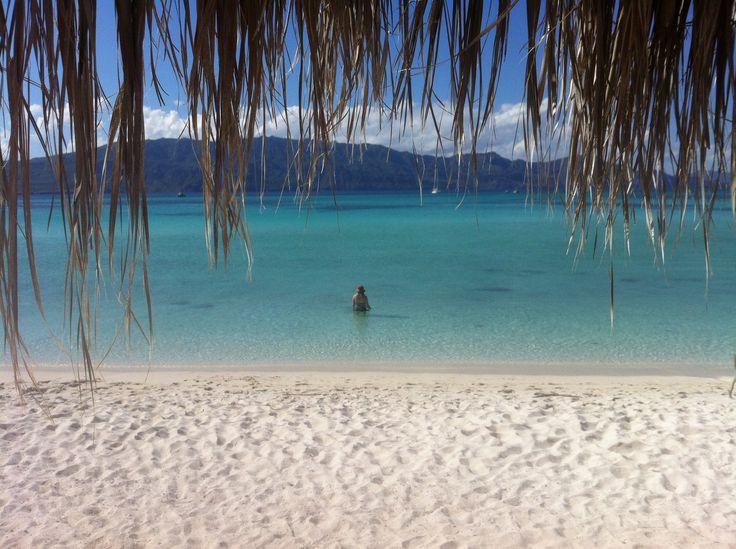A blissful, sugary white sand beach on Isla Coronado, in the Sea of Cortez near Loreto, Baja California, Mexico. A stunning location in the UNESCO World Heritage- protected marine park. | Mexico travel