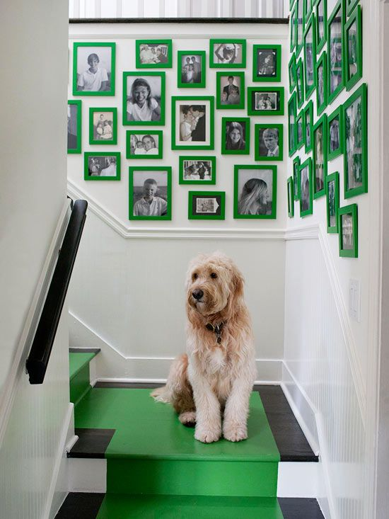 kelly green: Paintings Stairs, Decor Ideas, Color, Galleries Wall, Stairs Runners, Kelly Green, Pictures Frames, Hallways Decor, Art Wall