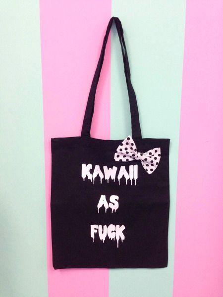 Kawaii+as+fuck+Beutel+in+Schwarz+oder+Rosa+von+Mademoiselle+Opossum+auf+DaWanda.com