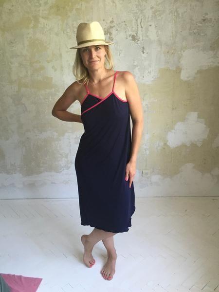 NANA summer dress - deep blue/pink