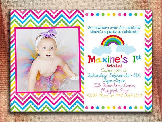 Chevron Over The Rainbow Birthday Invitation by MVDesignInk, $10.00