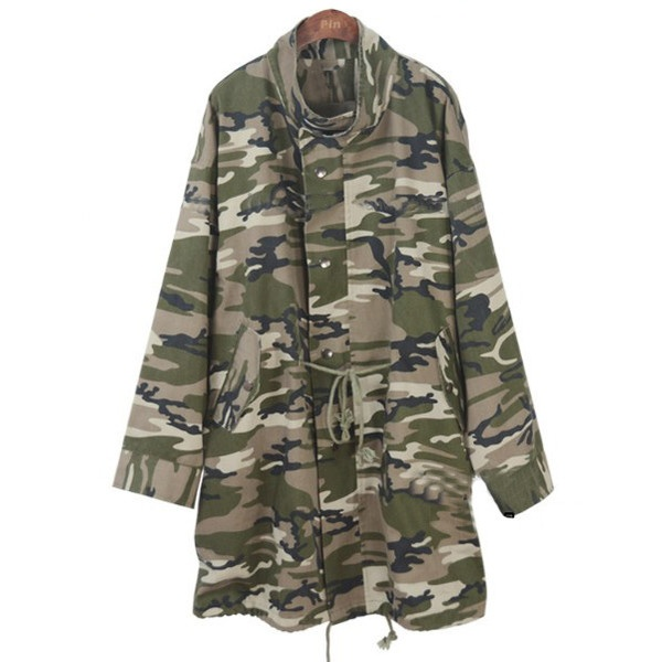Green Camouflage High Neck Long Sleeve Trench Coat ($59) ❤ liked on Polyvore