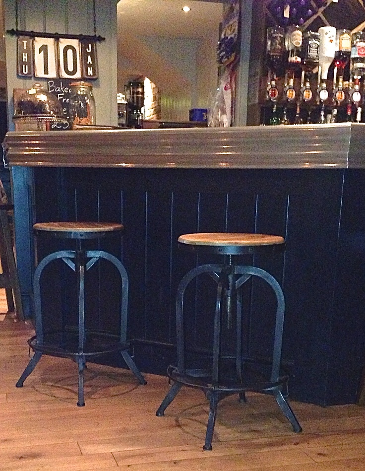 Steel Magnolias bar stools at recently refurbished pub.