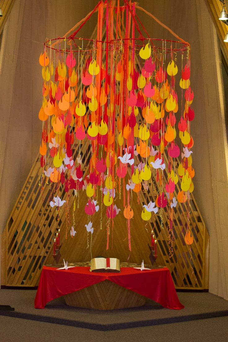 """Pentecost 2014 - Parkrose UMC Portland, OR  We asked all the congregations that use our sanctuary to answer the question """"what worship experience had led to a deeper understanding of God?""""  The answers are written on the flames. This was a powerful way for all to be a part of the art piece."""