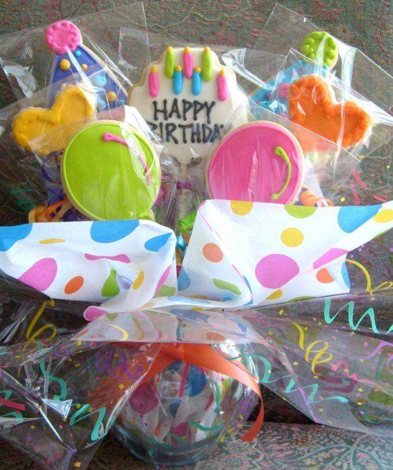 BOUQUET de COOKIE anniversaire - anniversaire Cookie faveurs - anniversaire Cookies - Cookie pièce maîtresse