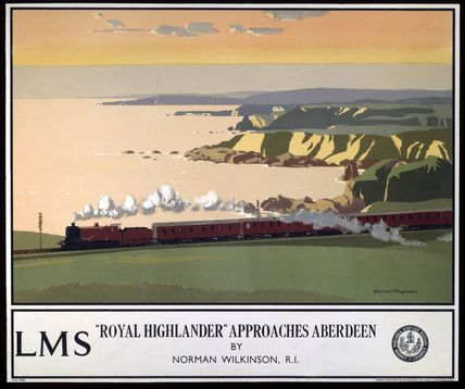 Poster produced for London, Midland & Scottish Railway (LMSR) to promote rail services to Aberdeen. The poster shows the red 'Royal Highlander' travelling acros a coastal landscape leaving a stream of prominent white smoke. The sea and cliffs are visible in the distance. Artwork by Norman Wilkinson.
