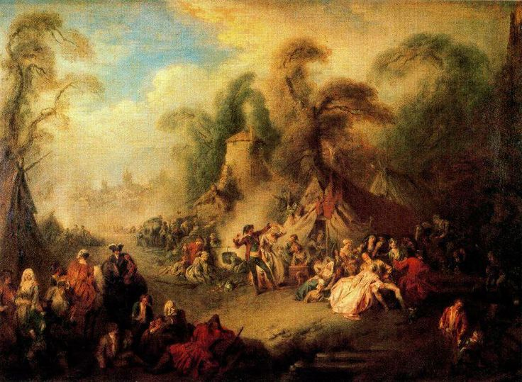 'A Country Festival mit Soldiers Rejoicing' von Jean-Baptiste Pater (1695-1736, France)