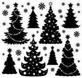 Tema de silueta de árbol de Navidad 1圣诞树剪影主题 1 — Vector de stock