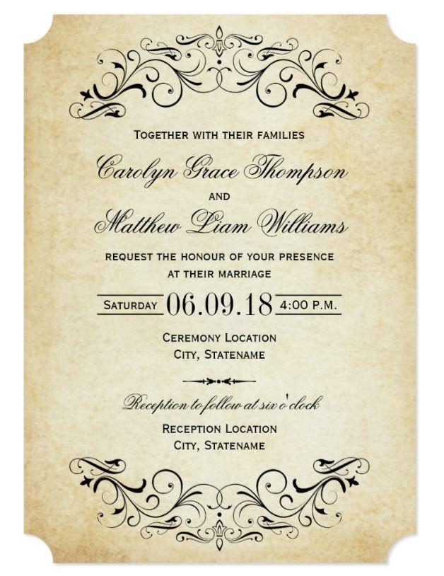 Vintage Rustic Black Flourish Parchment Wedding Invitation Zazzle Com Vintage Wedding Invitations Templates Free Wedding Invitation Templates Wedding Invitation Layout