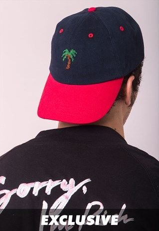 EXCLUSIVE NAVY & RED DAD CAP PALM HAND EMBROIDERED
