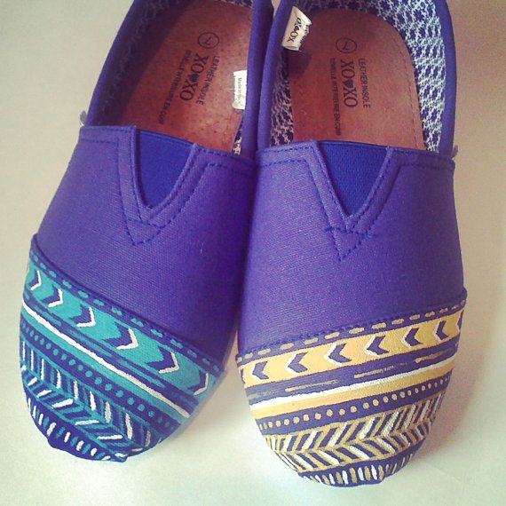 Ladies Purple Aztek2 Style Painted Canvas Shoes by 2Messy on Etsy, $26.00