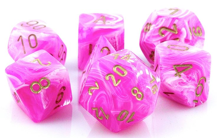 RPG Dice Set (Vortex Pink) role playing game dice + bag