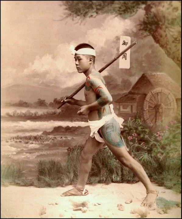 江戸時代後期の日本にいた全身刺青の飛脚たちのカラー写真いろいろ - DNA
