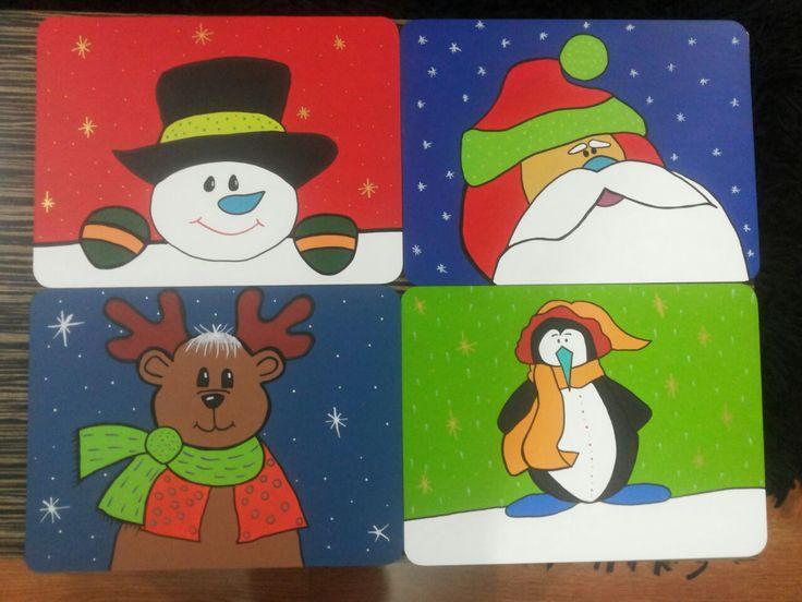 Individuales navideños en MDF.
