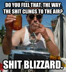 From quickmeme,com Do you feel that, the way the shit clings to the air? Shit blizzard.  Jim Lahey Trailer Park Boys.