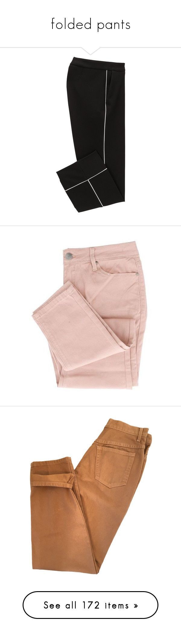 """folded pants"" by jennifertrimble ❤ liked on Polyvore featuring pants, capris, cropped capri pants, cropped pants, crop length pants, cropped trousers, jeans, bottoms, pantalones and slim fit jeans"