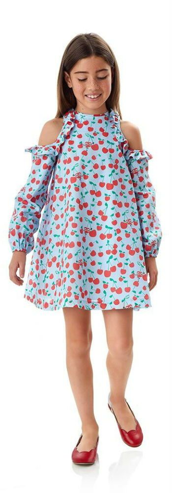 Love this FENDI Girls Blue Peek a Boo Shoulder Cherry Dress for SS18. This gorgeous blue Fendi dress has a sweet red cherry print and cut-out ruffled shoulders. Looks perfect with a pair of bright red leather ballet flats. #fendi #girl #kidsfashion #minime #fashion #style #boysclothing #girlsclothing