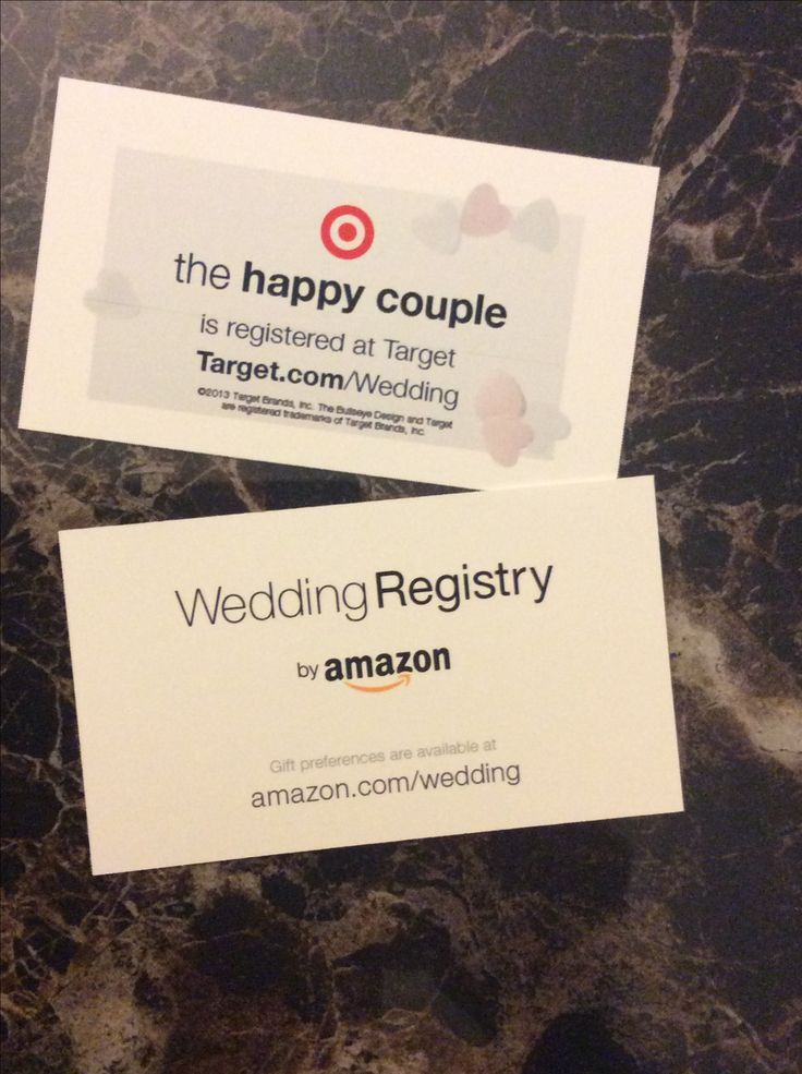 wedding registry use business cards to let people know where you are registered
