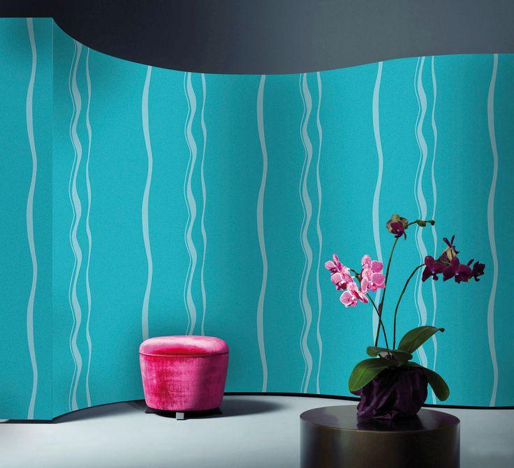Empapelado - Rayado sinuoso turquesa - Papel de parede