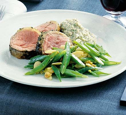 Loin of Lamb with Baba Ganoush. Baba ganoush or baba ghannouj is a Middle Eastern salad or appetizer made with roasted aubergine, tahini, lemon juice, garlic and spices. The spices in the dish vary from region to region.