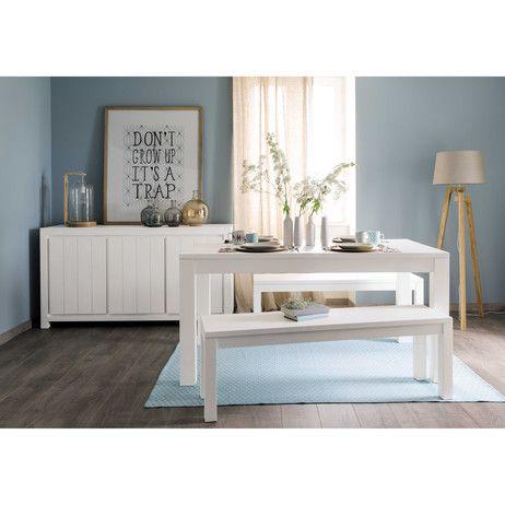amazing table de salle manger en bois massif blanche l cm white maisons du with etagere. Black Bedroom Furniture Sets. Home Design Ideas