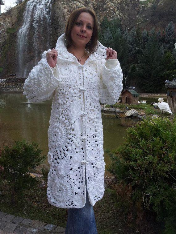 Crocheted coat handmade and knitted Cardigan by HelgaKaplanArt