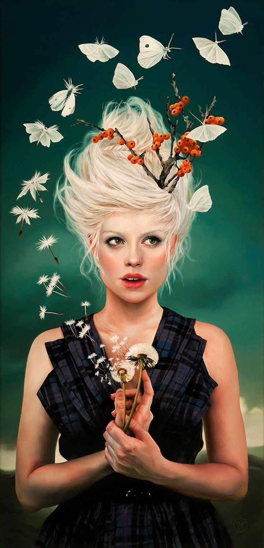 """A Magical Metamorphossis and Moments of Wonder"" - Melissa Forman, oil on panel {figurative realism art blonde female dandelions butterfly woman portrait painting} melissaformanstudio.com"
