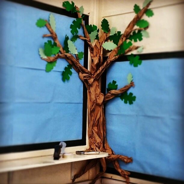 Great outdoors tree classroom display. Made from paper.