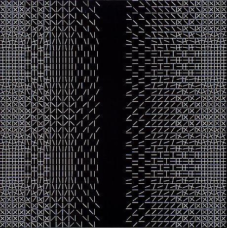 Matti Kujasalo: mustavalkoinen sommitelma, 1989, öljy kankaalle, liimattu levylle, 152x152 cm - Bukowskis F155