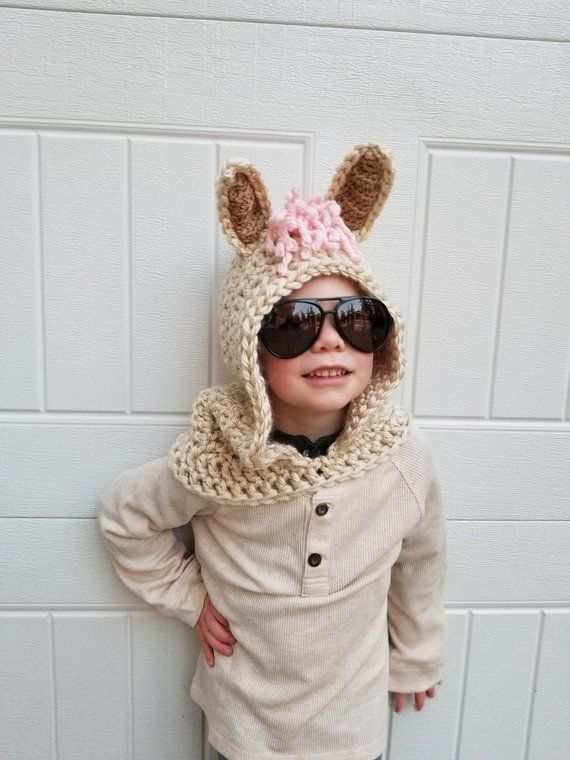 Llama Costume | Crochet Hooded Scarf, Toddler Scarf, Kids Llama Costume, Kindergarten Outfit, Halloween Costume Kids, Family Costumes
