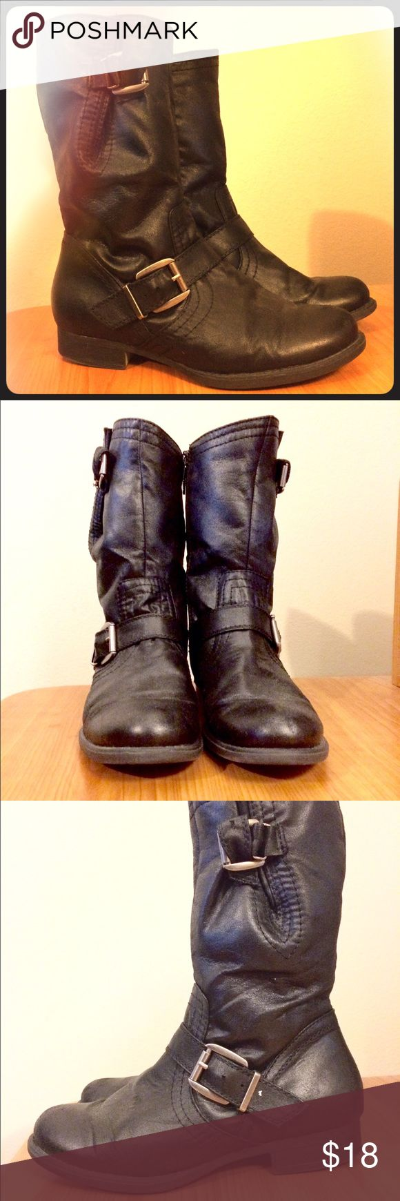 Black zip-up moto boots Incredibly cute and comfortable black moto boots by Yuu, size 7 1/2 :) Very reminiscent of Frye's Veronica short boot! soft man made material with inner zippers, low heels, and stylish buckle accents. Excellent nearly new condition - worn only a few times! ✨💜😊 Frye Shoes Combat & Moto Boots