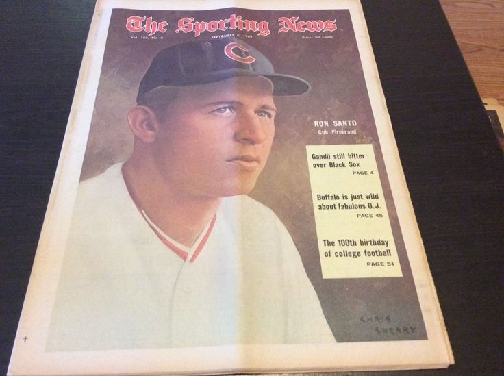 Sep 6 1969 THE SPORTING NEWS Ron Santo Chicago Cubs O J Simpson Patriots Eagles