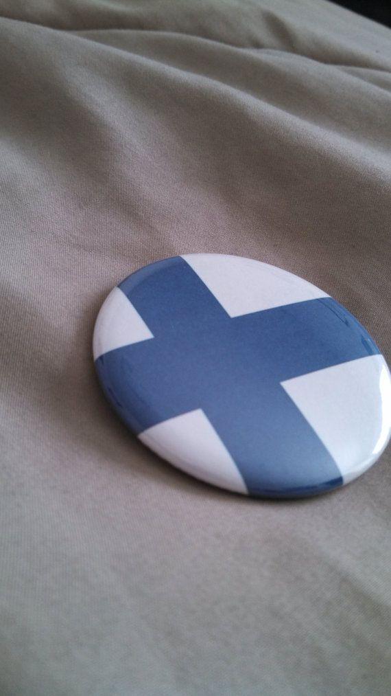 Finland Finnish Flag Pinback Button 2.25 by RockBetty on Etsy, $2.00