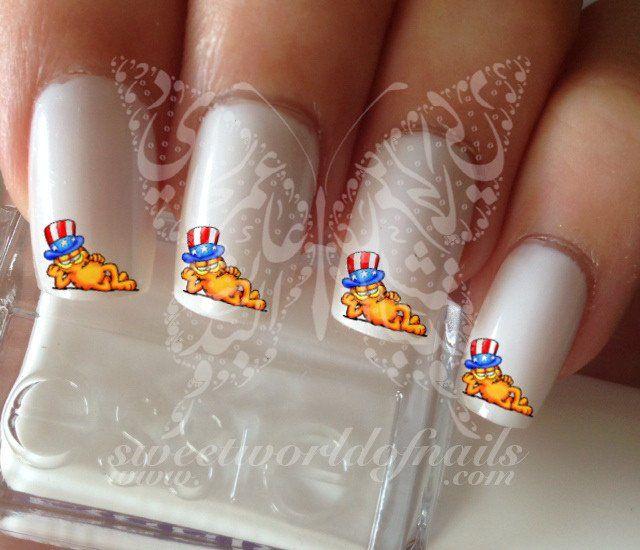 4th of July Garfield Nail Art Nail Water Decals