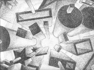 One-point perspective. Good example o shading with only pencil