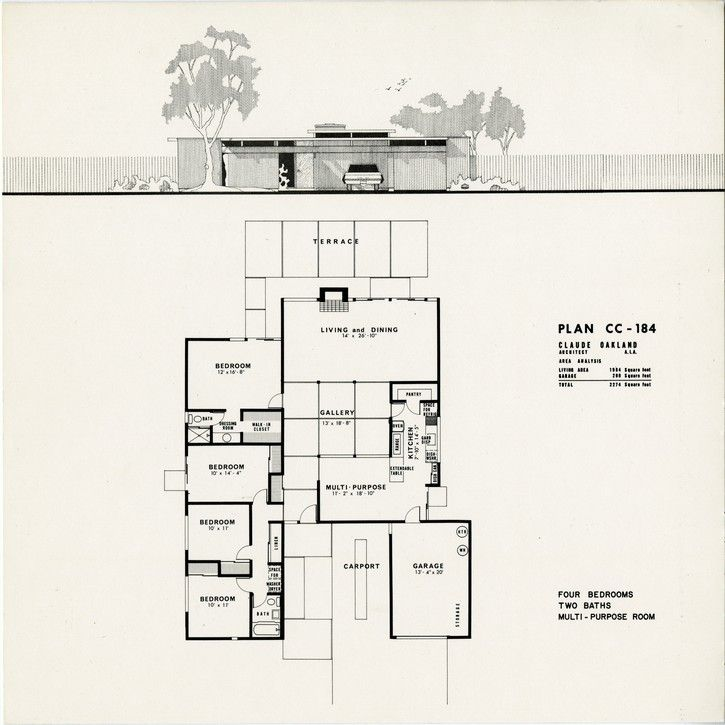 eichler plan cc 184 claude oakland eichlers On joseph eichler house plans