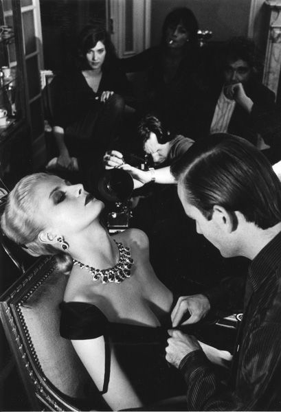 French Vogue, 1980: Givenchy dress & Bulgari jewels. Photo: Helmut Newton.
