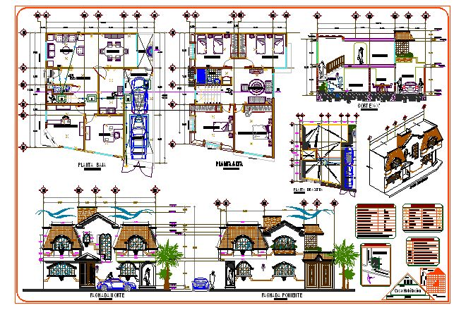 Villa - Plans, Elevations, Section and Perspective