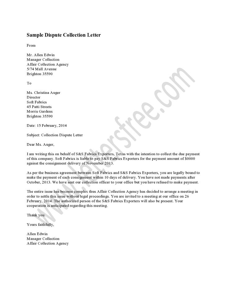 Template For Debt Dispute Letter