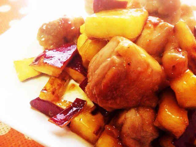 鶏とさつまいもの照りマヨ炒め