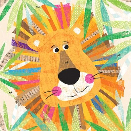"""Peeking Jungle Buddies - Lion"" Nursery Art by Liza Lewis for Oopsy Daisy sizes 14x14 $69 and 30x30 $189"