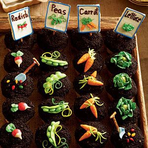 Vegetable Garden cupcakes. Peter Rabbit party?