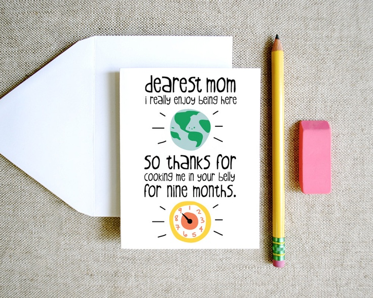 thanks for cooking me mom card mothers day birthday funny cute sweet silly drawing and