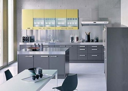 Gray and yellow poggenpohl kitchen kitchen cabinetry for Yellow and gray kitchen